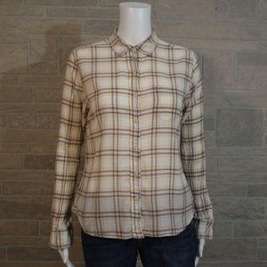 Ralph Lauren Tomboy Tan Plaid Button Front Shirt